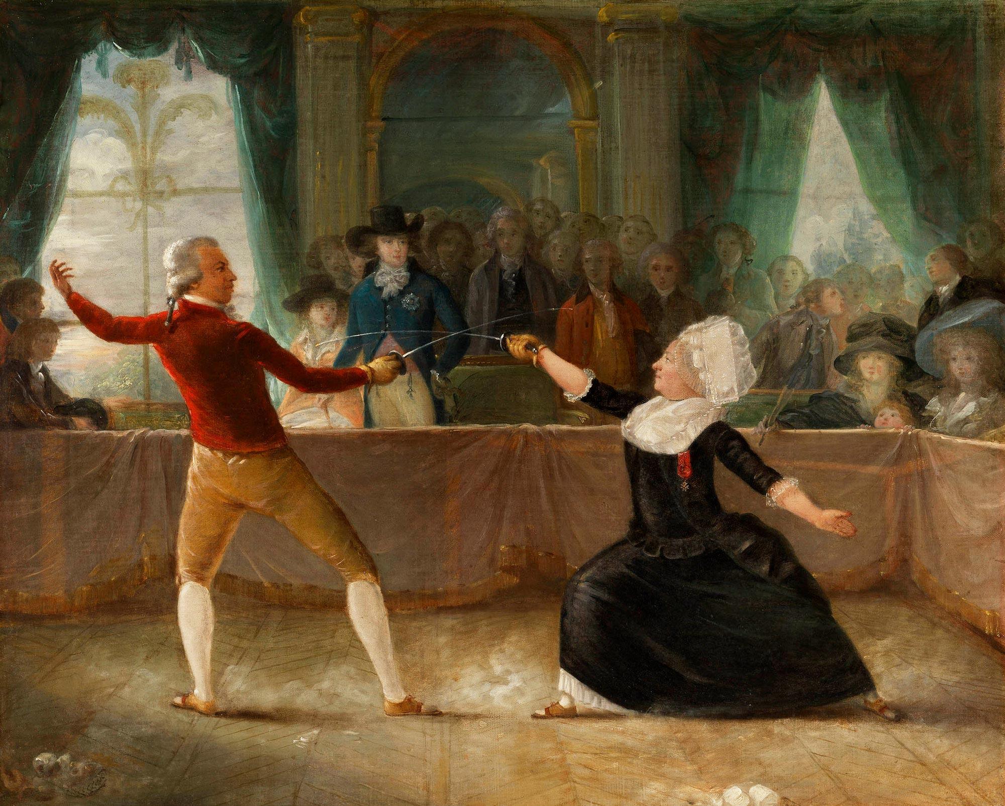 El caballero d'Eon contra el caballero de Saint Georges, cuadro del pintor francés Alexandre Auguste Robineau