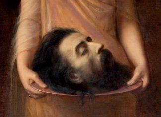 Detalle de la cabeza de Juan Bautista. Pintura de arte sacro de Jean Benner.