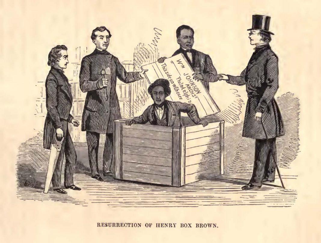 Ilustración de Henry Brow, el esclavo que se envió por correo postal para conseguir la libertad. Del libro The Underground Railroad, de Henry Still (1872).