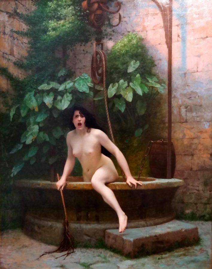 Jean-Léon Gêrome: La Verdad surgiendo de un poco con un látigo para castigar a la humanidad.