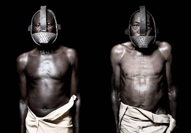 Representación de las máscaras que llevaban los esclavos en los siglos XVIII y XIX. Fotografía de Fabrice Monteiros.