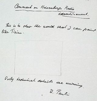 Carta del físico Wolfgang Paulí a su colega George Gamow