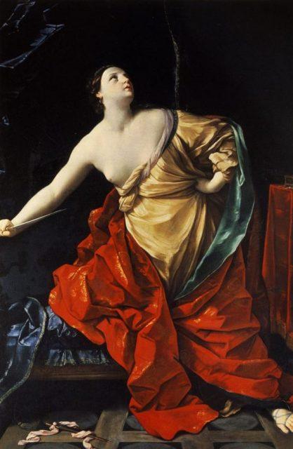 Otra representación de Lucrecia, por Guido Reni (siglo XVII)