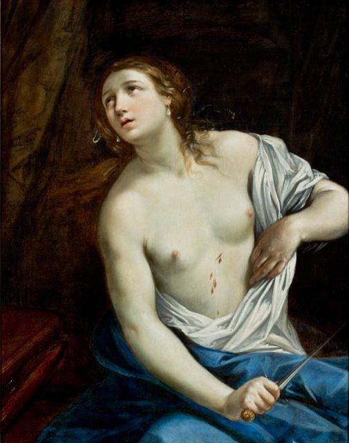 La predilección de Guido Reni por Lucrecia es sorprendente.