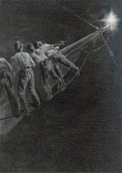 H.Davidson: Sailors in the Rigging Alarmed by the Appearance of St. Elmo's Fire at the Tip of a Spar (siglo XVIII)