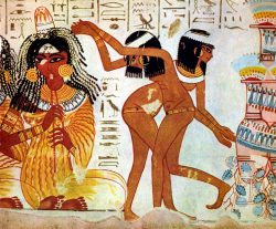 Mural en la tumba de Nebamun (Tebas) que muestra a bailarinas que usan Khol.