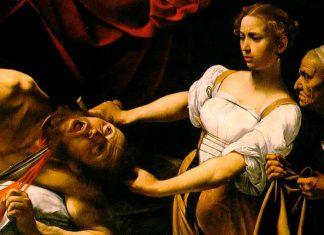 Caravaggio: Detalle de Judith decapitando a Holofernes