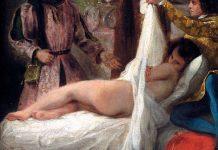 Eugene Delacroix: El duque de Orléans mostrando a su amante (detalle)