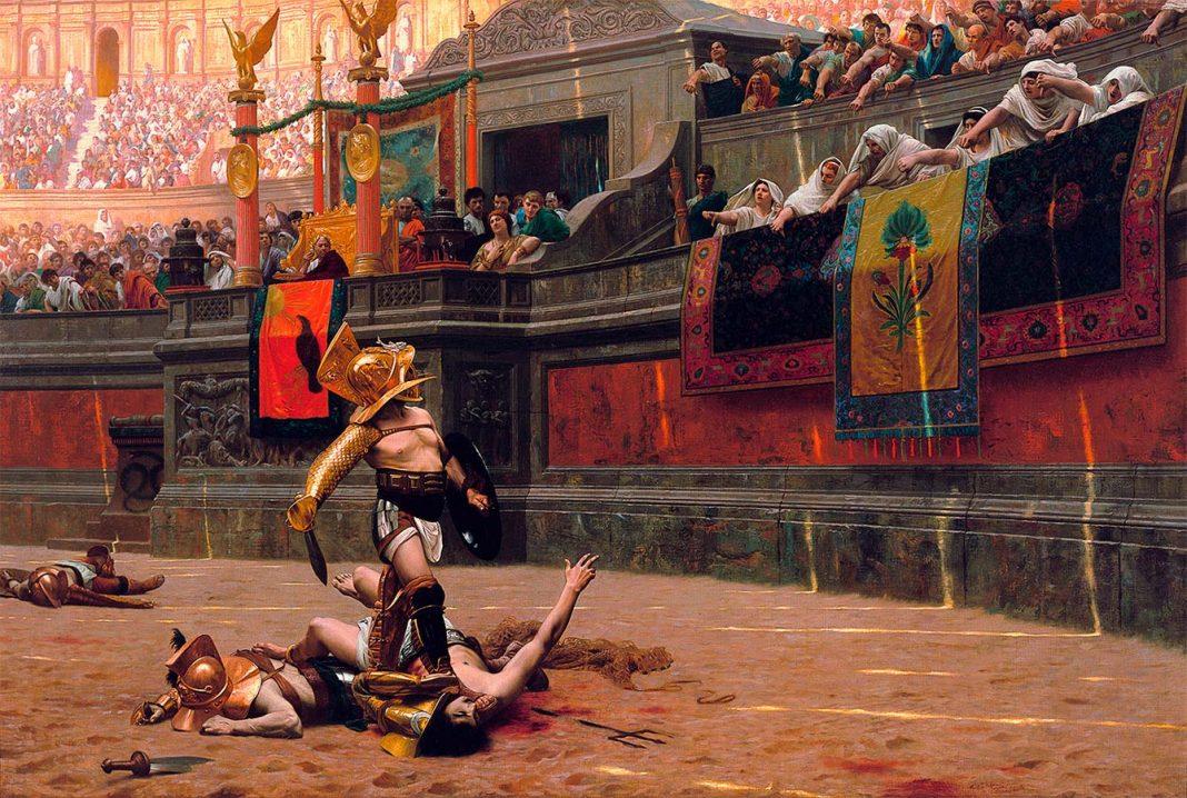 Jean-Léon Gérôme: Pollice Verso (1872). Lucha de gladiadores en un circo romano.