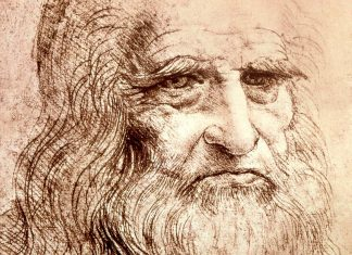 Detalle del autorretrato de Leonardo da Vinci