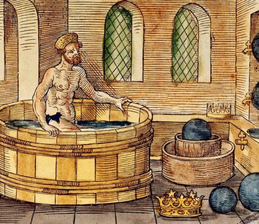 Arquímedes en la bañera, cuando tuvo la idea que desembocaría en el famoso príncipe de Arquímedes (grabado en madera del siglo XVI).