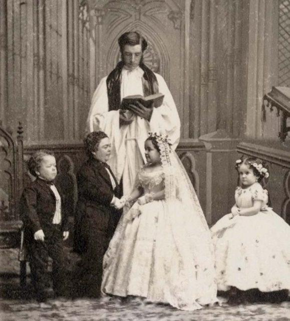 Tom Thumb y Lavinia Warren el día de su boda