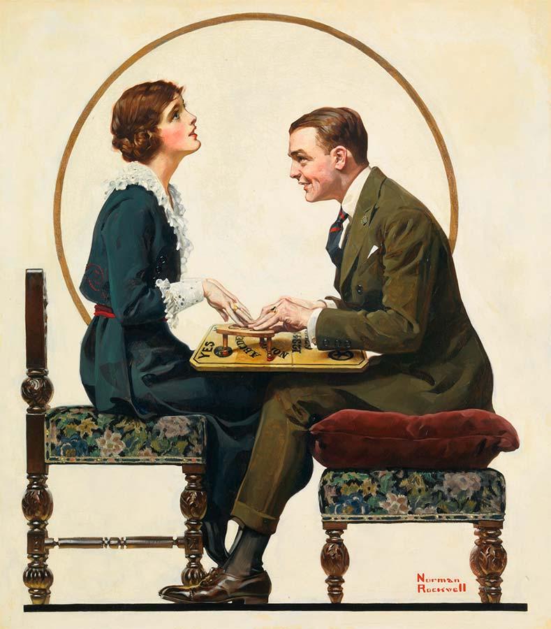 Norman Rockwell: El tablero de Ouija (1920). Rockwell fue un ilustrador y pintor famoso por la ironía y el toque humorísticos de sus obras.