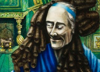 Rachel Baes: Voltaire con la peluca de Leibniz (detalle)