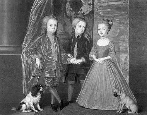 Bernard Lens: Diana Spencer con sus hermanos Charles y John (1720).