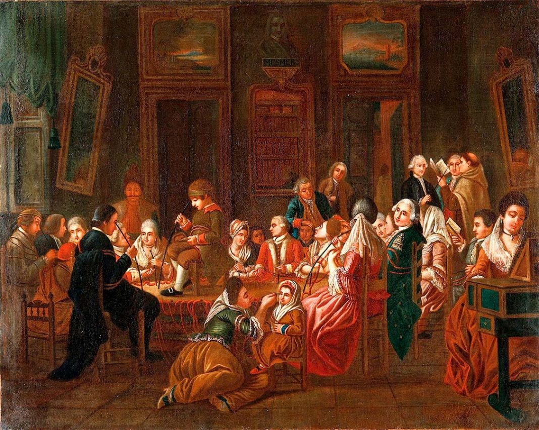 Sesión de Mesmerismo. Obra atribuida al pintor Claude-Louis Desrais.