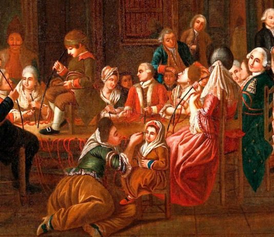 Sesión de Mesmerismo. Obra atribuida la pintor Claude-Louis Desrais (detalle)