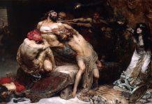 Solomón Joseph Solomón: Sansón (1887, óleo sobre lienzo, 244 x 366 cm, Walker Art Gallery, Liverpool).